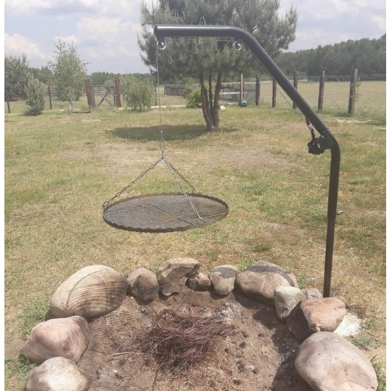 Grill ogrodowy nad ognisko do zabetonowania cynkowany ogniowo, malowany - DOMOWO24.PL
